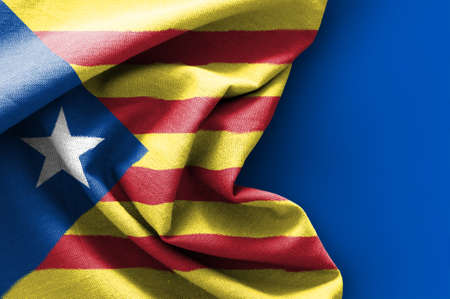 Flag of Catalonia on blue background, 3D rendering