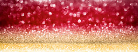 Christmas Shiny Background - Glittering Effect With Golden And Red Bokeh