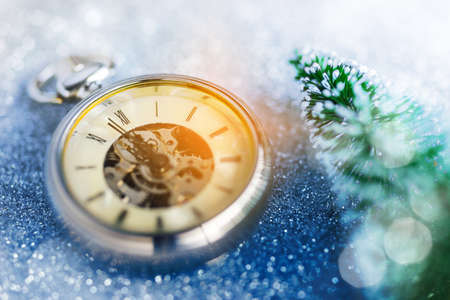 New Year - Celebration With Vintage Clock, Tree and Bokeh Background Stock Photo
