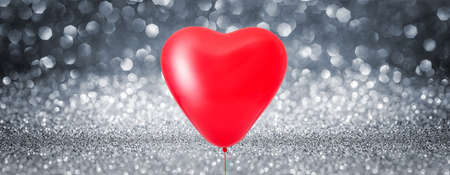Love heart balloon Shiny Background - Glittering Effect With Silver Bokeh