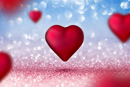 Valentines Card - Shiny Two Hearts On Red and Blue Background