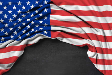 Flag of USA (United States of America) on blackboard background - 3D rendering Stock Photo