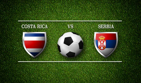 Football Match schedule, Costa Rica vs Serbia, flags of countries and soccer ball - 3D rendering