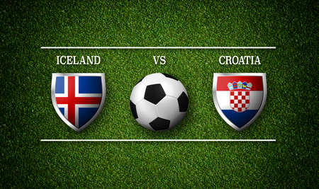 Football Match schedule, Iceland vs Croatia, flags of countries and soccer ball - 3D rendering
