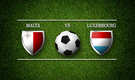 Football Match schedule, Malta vs Luxembourg, flags of countries and soccer ball - 3D rendering