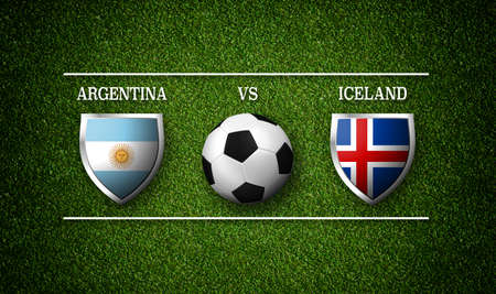 Football Match schedule, Argentina vs Iceland, flags of countries and soccer ball - 3D rendering