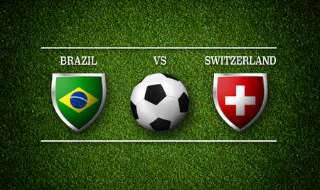 Football Match schedule, Brazil vs Switzerland, flags of countries and soccer ball - 3D rendering Stock Photo