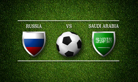 3D rendering - Football Match schedule, Russia vs Saudi Arabia, flags of countries and soccer ball