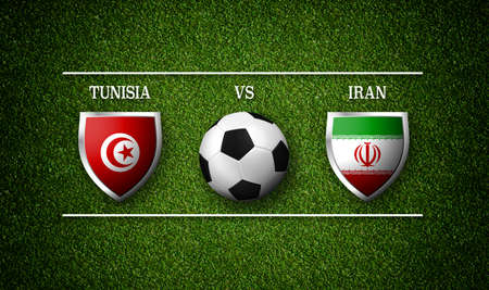 Football Match schedule, Tunisia vs Iran, flags of countries and soccer ball 版權商用圖片 - 98984653