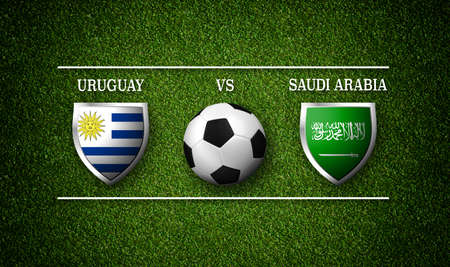 Football Match schedule, Uruguay vs Saudi Arabia, flags of countries and soccer ball Stock Photo
