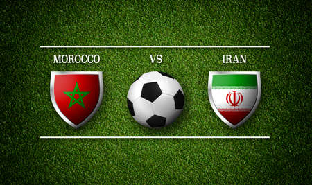 3D Rendering - Football Match schedule, Morocco vs Iran, flags of countries and soccer ball Stock Photo