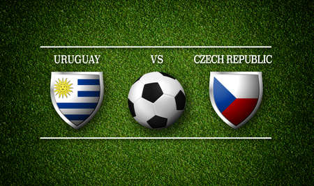 Football Match schedule, Uruguay vs Czech Republic, flags of countries and soccer ball - 3D rendering