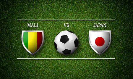 Football Match schedule, Mali vs Japan, flags of countries and soccer ball - 3D rendering Stock Photo