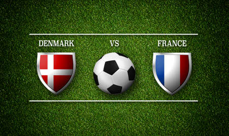 Football Match schedule, Denmark vs France, flags of countries and soccer ball - 3D rendering