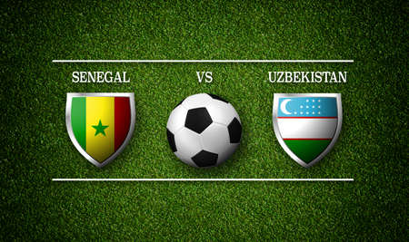 Football Match schedule, Senegal vs Uzbekistan, flags of countries and soccer ball - 3D rendering