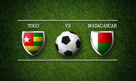 Football Match schedule, Togo vs Madagascar, flags of countries and soccer ball - 3D rendering