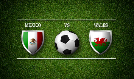 Football Match schedule, Mexico vs Wales, flags of countries and soccer ball - 3D rendering