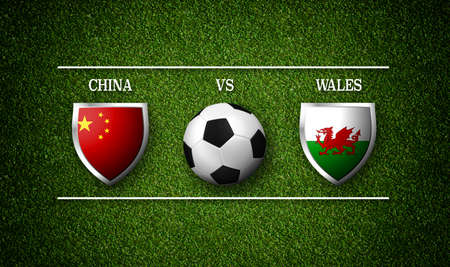 Football Match schedule, China vs Wales, flags of countries and soccer ball - 3D rendering Stock Photo - 98984656