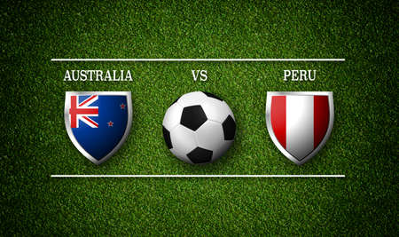 Football Match schedule, Australia vs Peru, flags of countries and soccer ball - 3D rendering 版權商用圖片
