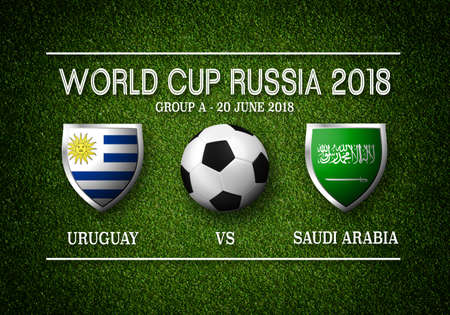 Match schedule, Uruguay vs Saudi Arabia, flags of countries participating to the international tournament in Russia, group and date