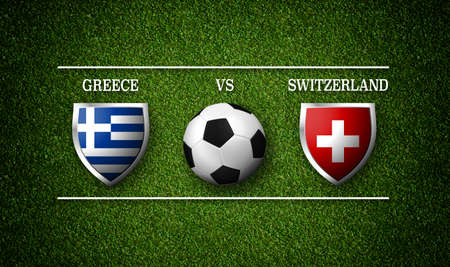 Football Match schedule, Greece vs Switzerland, flags of countries and soccer ball - 3D rendering Stock Photo