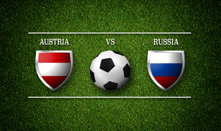 Football Match schedule, Austria vs Russia, flags of countries and soccer ball - 3D rendering