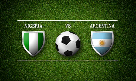 Football Match schedule, Nigeria vs Argentina, flags of countries and soccer ball - 3D rendering