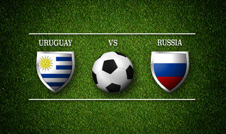 Football Match schedule, Uruguay vs Russia, flags of countries and soccer ball Stock Photo - 98838023
