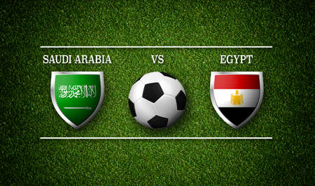 3D Rendering - Football Match schedule, Saudi Arabia vs Egypt, flags of countries and soccer ball