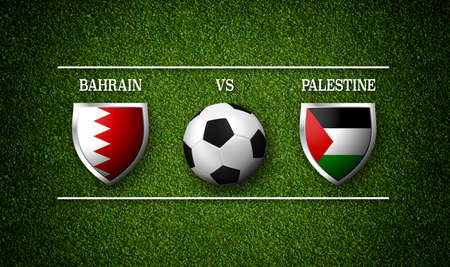 Football Match schedule, Bahrain vs Palestine, flags of countries and soccer ball - 3D rendering