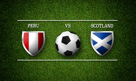 Football Match schedule, Peru vs Scotland, flags of countries and soccer ball - 3D rendering 版權商用圖片