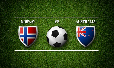 Football Match schedule, Norway vs Australia, flags of countries and soccer ball - 3D rendering