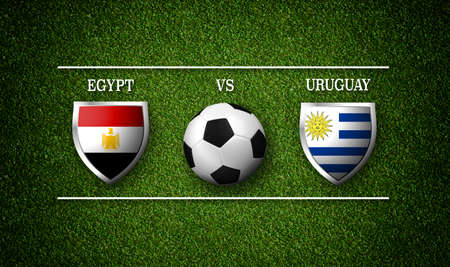 Football Match schedule, Egypt vs Uruguay, flags of countries and soccer ball Stock Photo