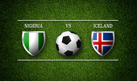 Football Match schedule, Nigeria vs Iceland, flags of countries and soccer ball - 3D rendering