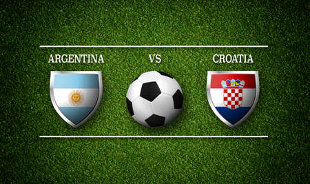Football Match schedule, Argentina vs Croatia, flags of countries and soccer ball - 3D rendering