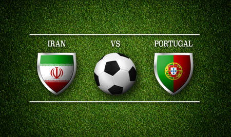Football Match schedule, Iran vs Portugal, flags of countries and soccer ball - 3D rendering