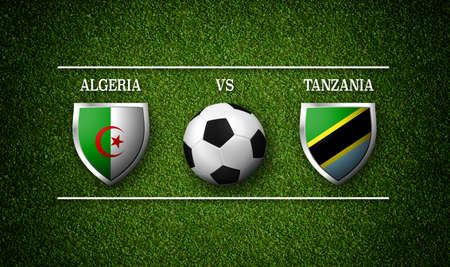 Football Match schedule, Algeria vs Tanzania, flags of countries and soccer ball - 3D rendering