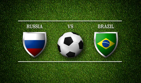 Football Match schedule, Russia vs Brazil, flags of countries and soccer ball - 3D rendering Stock Photo