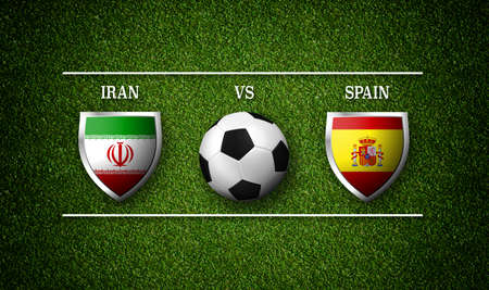 3D Rendering - Football Match schedule, Iran vs Spain, flags of countries and soccer ball