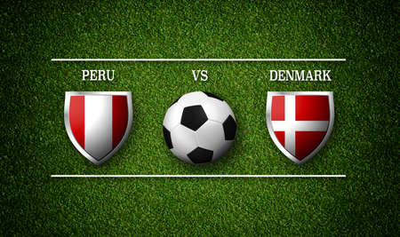 Football Match schedule, Peru vs Denmark, flags of countries and soccer ball - 3D rendering Stock Photo