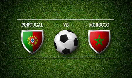 3D Rendering - Football Match schedule, Portugal vs Morocco, flags of countries and soccer ball 版權商用圖片