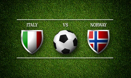 Football Match schedule, Italy vs Norway, flags of countries and soccer ball - 3D rendering