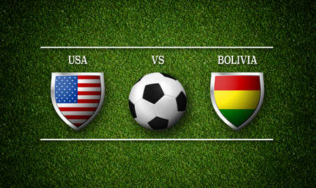 Football Match schedule, USA vs Bolivia, flags of countries and soccer ball - 3D rendering Stock Photo