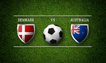 Football Match schedule, Denmark vs Australia, flags of countries and soccer ball - 3D rendering