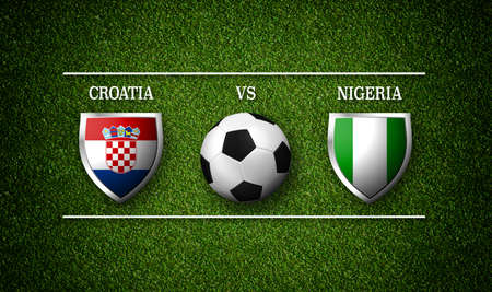 Football Match schedule, Croatia vs Nigeria, flags of countries and soccer ball - 3D rendering