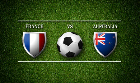 Football Match schedule, France vs Australia, flags of countries and soccer ball - 3D rendering Stock Photo