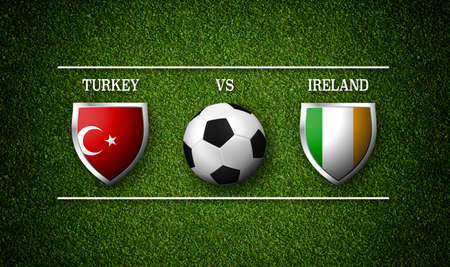 Football Match schedule, Turkey vs Ireland, flags of countries and soccer ball - 3D rendering