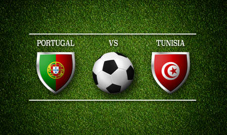 Football Match schedule, Portugal vs Tunisia, flags of countries and soccer ball - 3D rendering