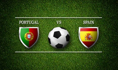 3D Rendering - Football Match schedule, Portugal vs Spain, flags of countries and soccer ball Stock Photo