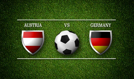 Football Match schedule, Austria vs Germany, flags of countries and soccer ball - 3D rendering